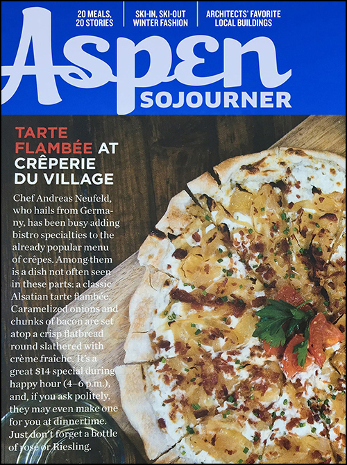 Creperie du Village Tarte Flambee at Creperie du Village Aspen Sojourner Holiday 2015-2016