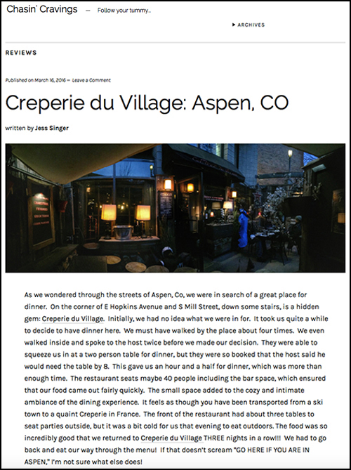 Creperie du Village-Aspen-Chasin' Cravings - March 16, 2016